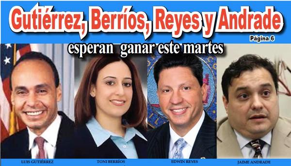 Gutiérrez, Berríos, Reyes y Andrade esperan ganar este martes